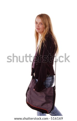August means Back To School, book bag over her shoulder and text books in her arm isolated over white.