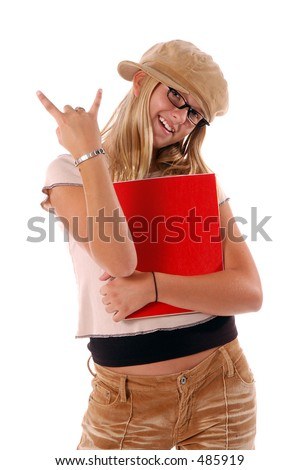 August means Back To School,  Stylish young  Middle School student with text books in her arm flashing the Rawk On sign isolated over white.