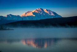 AUGUST 30, 2016 - Mount Denali at Wonder Lake, previously known as Mount McKinley 20, 310 feet above sea level. Located in the Alaska Range, Denali National Park and Preserve, Alaska - Sunrise.