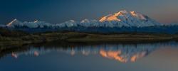 AUGUST 28, 2016 - Mount Denali at Wonder Lake, previously known as Mount McKinley, 20, 310 feet above sea level. Located the Alaska Range, Denali National Park and Preserve, Alaska - shot at Sunrise.