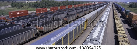 AUGUST 2007 - Panoramic view of freight cars at Union Pacific's Bailey Railroad Yards, North Platte, Nebraska, the worlds largest classification railroad yard