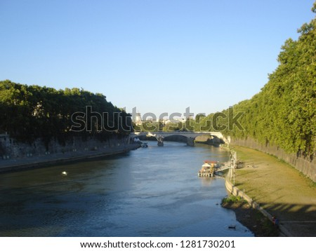 August 2013, Rome, Italy. View of the river Tiber #1281730201