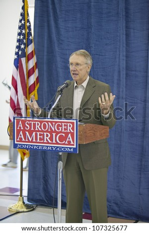 AUGUST 2004 - Senator Harry Reid speaking at the Ralph Cadwallader Middle School, Las Vegas, NV