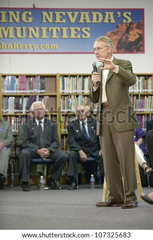 AUGUST 2004 - Senator Harry Reid speaking at the Ralph Cadwallader Middle School, Las Vegas, NV