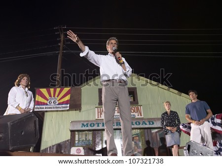 AUGUST 2004 - Senator John Kerry, Kerry family, speaking from stage at outdoor Kerry Campaign rally, Kingman, AZ