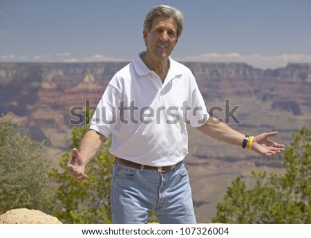 AUGUST 2004 - Senator John Kerry speaking at the rim of Bright Angel Lookout, Grand Canyon, AZ