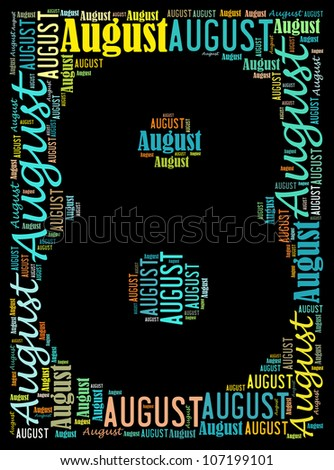 August text graphics composed in number 8 on black background