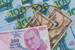 August 2020. turkey. Photo of gold coins on euro banknotes. editorial photo.