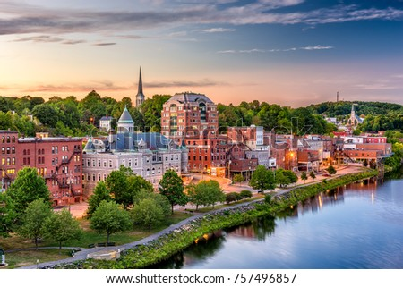 Augusta, Maine, USA downtown skyline on the Kennebec River. #757496857