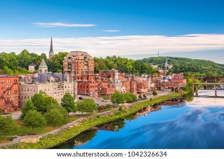 Augusta, Maine, USA skyline on the river. #1042326634