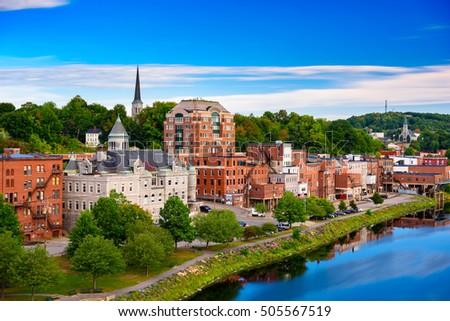 Augusta, Maine, USA skyline on the river. #505567519