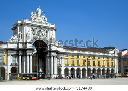 Augusta Street Arch in Commerce Square in Lisbon , Portugal