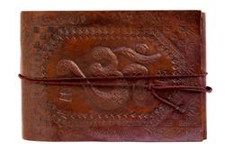 aum leather notebook India travel, white background, isolated