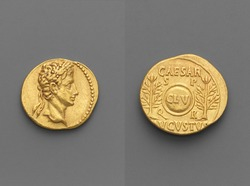 Aureus (Coin), Roman Gold aureus of Augustus, Head of Augustus, oak-wreathed