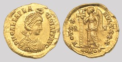 Aureus (Greece Coin), Obverse: Bust of Galla Placidia. Reverse: Victory holding long cross.
