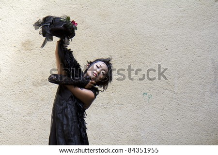 """AURILLAC, FRANCE- AUGUST 17: Barbara Murata dances as part of the Aurillac International Street Theater Festival, show """"Doppelganger"""", on August 17, 2011 in Aurillac, France."""