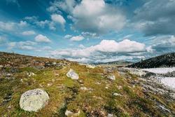 Aurlandsfjellet, Norway. Mountains Landscape Near Aurlandsfjellet. Scenic Route Road In Summer. Norwegian Landscape.