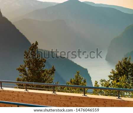 Aurlandsfjord landscape from Stegastein viewpoint, Norway Scandinavia. Tourism vacation and travel. #1476046559