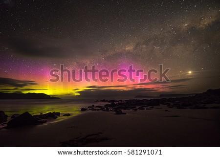 Aurora australis, Cloudy Bay, Tasmania Stockfoto ©