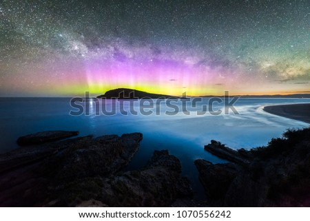 Aurora Australis over Betsey Island at Blue Hour Stockfoto ©