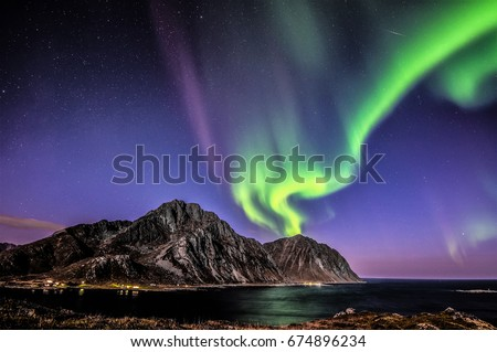 "aurora borealis above "",Nappstinden"" #674896234"
