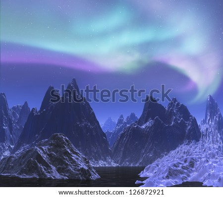 Aurora borealis above snow mountain and lake