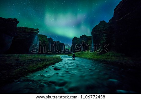 Aurora Borealis (Northern Lights) above Fjadrargljufur canyon #1106772458