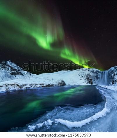 Aurora borealis, northern lights in Iceland during winter, Europe.