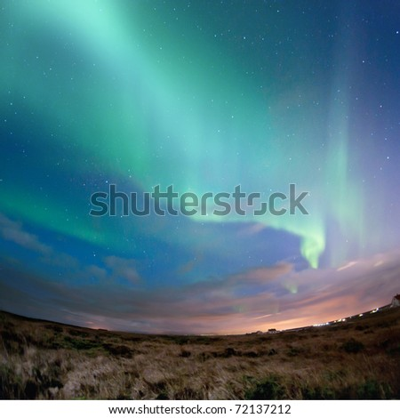Aurora Borealis (Northern Lights) over southern Iceland.  grainy image