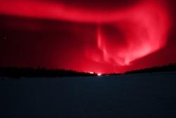 Aurora borealis of various colors in Lapland