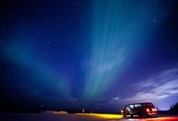 Aurora Borealis or Northen Lights near Fairbanks, Alaska.