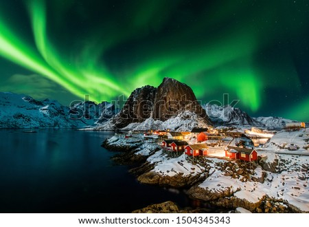 Photo of  Aurora borealis over Hamnoy in Norway