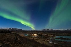Aurora borealis over the Thingvellir National Park - Iceland
