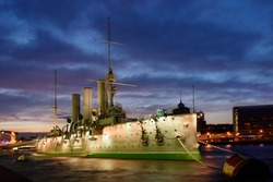 Aurora cruiser in Saint-Petersburg at white nights