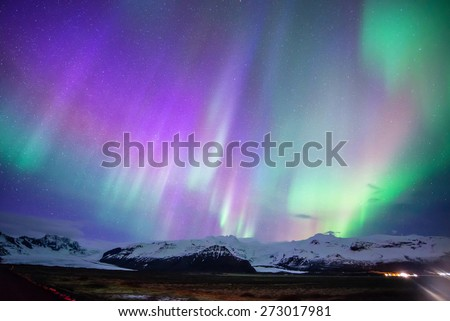 Aurora display in Skaftafell, iceland #273017981