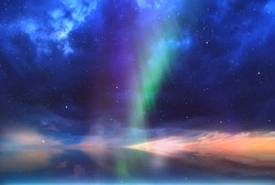 Aurora Northern Lights  ,starry sky shining light colorful green blue nature background  weather forecast