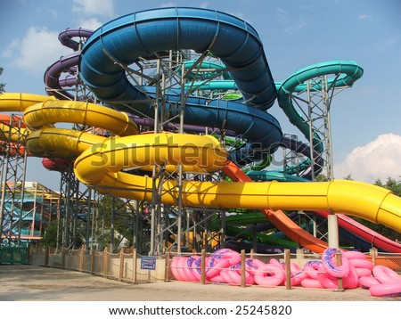 AURORA, OH - AUGUST 23: Slides at Geauga's Lake's Wildwater Kingdom August 23rd, 2006 in Aurora, Ohio. Wildwater Kingdom reported a net income of $5.7 million for 2008. #25245820