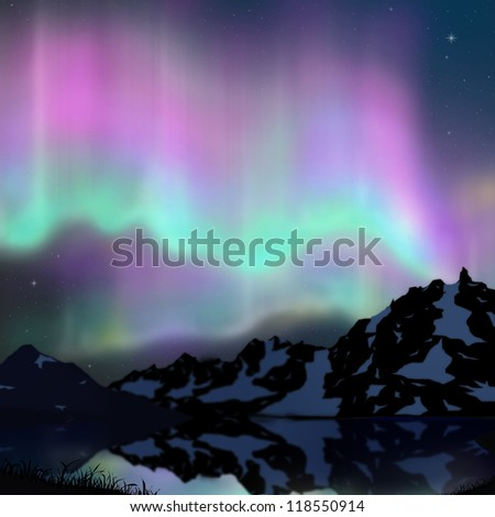 aurora over lake and hill with snow.