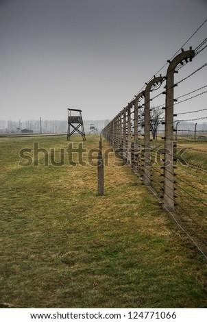 Auschwitz in Winter Fog