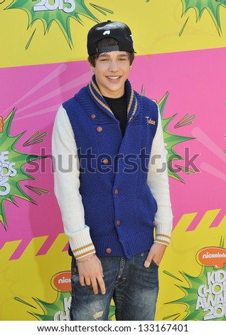 Austin Mahone at Nickelodeon's 26th Annual Kids' Choice Awards at the Galen Centre, Los Angeles. March 23, 2013  Los Angeles, CA Picture: Paul Smith