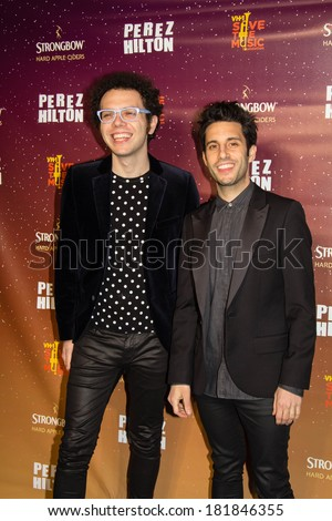"""AUSTIN-MARCH 15: A Great Big World steps onto the red carpet at  Perez Hilton's """"One Night In Austin"""" during the SXSW Music festival at the Austin Music Hall in Austin, Texas on March 15 2014."""