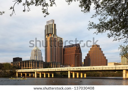 AUSTIN-MARCH 27: A View of the Skyline Austin at Sunset on March 27, 2013 Austin, Texas. Austin is the capital of the U.S. state of Texas and the 13th most populous city in the USA.