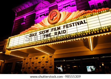 AUSTIN - MARCH 26: SXSW marquee at the Paramount Theater is shown at a SXSW event on March 26, 2012 in Austin, Texas.