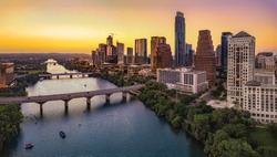 Austin Skyline in the evening and bluehour