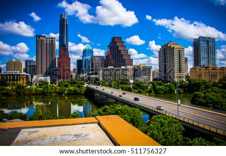 Austin Texas during sunny summertime perfect cityscape skyline shot of the Classic Austin look downtown with Congress Bridge with long perspective and Frost Bank Tower in View