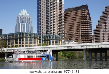 AUSTIN, TEXAS - MAR 9: SXSW 2012 South by Southwest 2012 Annual music, film, and interactive conference and festival on March 9, 2012 in Austin, Texas. Festival is held from March 9-18.   Austin skyline, view from the river