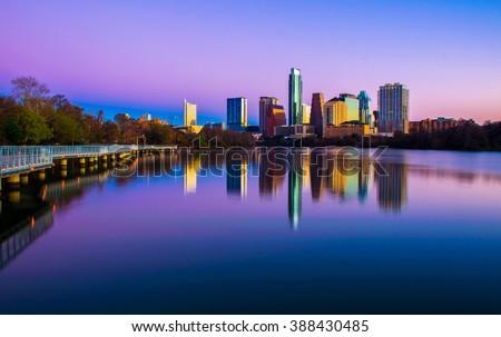 Austin Texas morning Glow from Riverside pedestrian Bridge purple and pink colorful sunrise