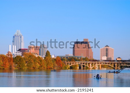 Austin Texas skyline along the Colorado river.