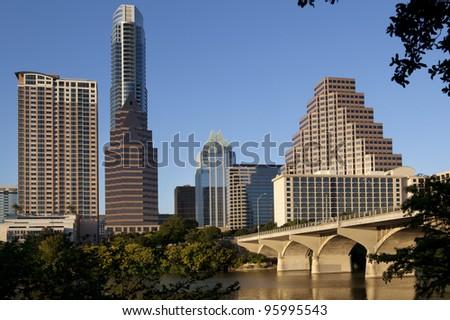 Austin, Texas skyline, Lady Bird Lake and Congress Avenue Bridge.