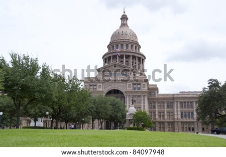AUSTIN, TX - AUG 13: The Texas state capitol building in Austin, Texas on August 13, 2011. The capitol has 360,000 sq. ft. of floor space, more than any other state capitol building.